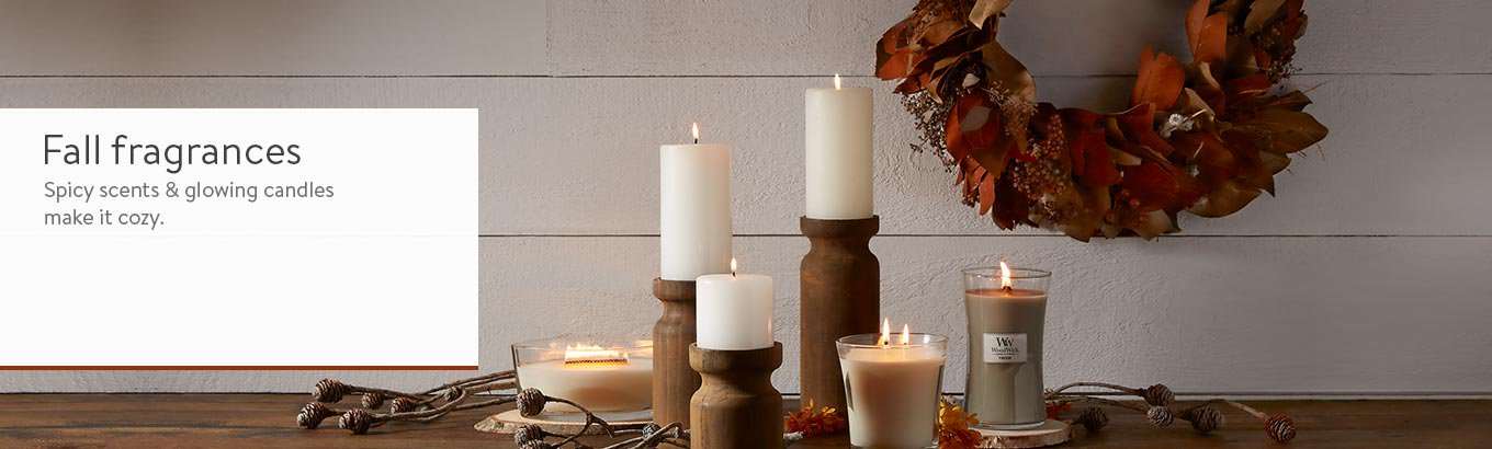 A display with fall fragrance candles