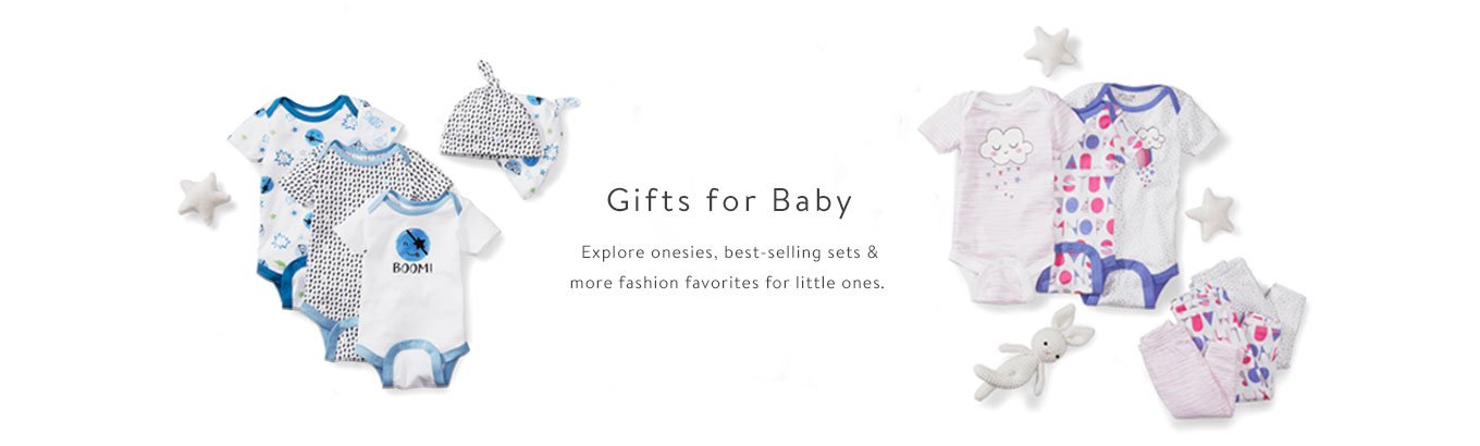 Gifts for Baby. Explore onesies, best-selling sets & more fashion favorites for little ones. Still searching? Explore the Baby Registry.