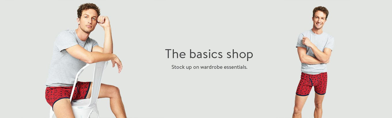 The basics shop. Stock up on wardrobe essentials.