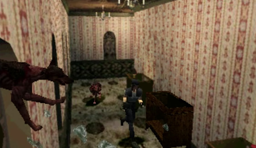 PlayStation Classic - The iconic zombie dog scene from Resident Evil: Director's Cut.