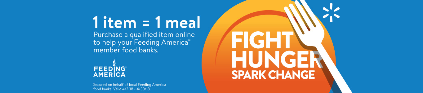 Fight hunger, spark change. 1 item equals 1 meal with purchase of qualified items online.