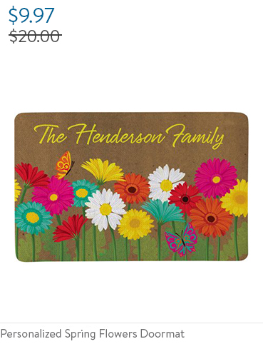 Personalized Spring Flowers Doormat