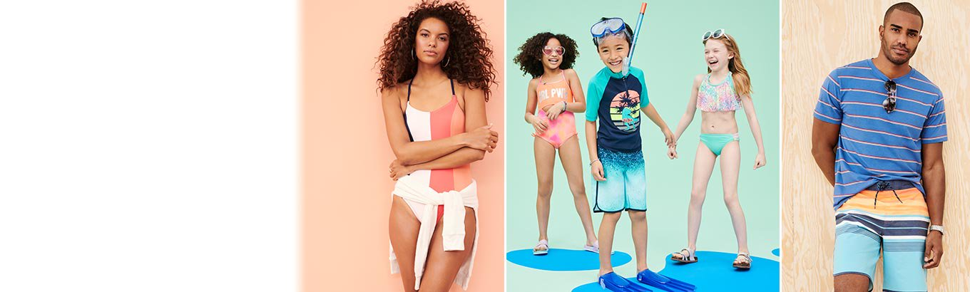Seaside styles. Dive into the latest swim & beach looks for the whole family.