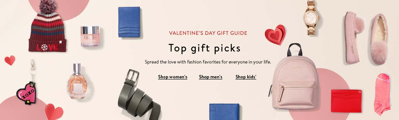 VALENTINE'S DAY GIFT GUIDE featuring top gift picks. Shop women's. Shop men's. Shop kids'
