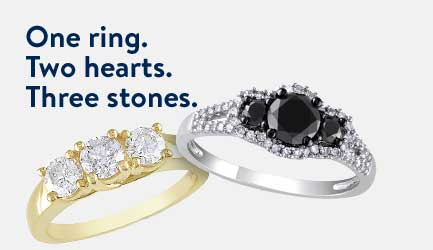 one ring two hearts three stones - Wedding Rings Under 100
