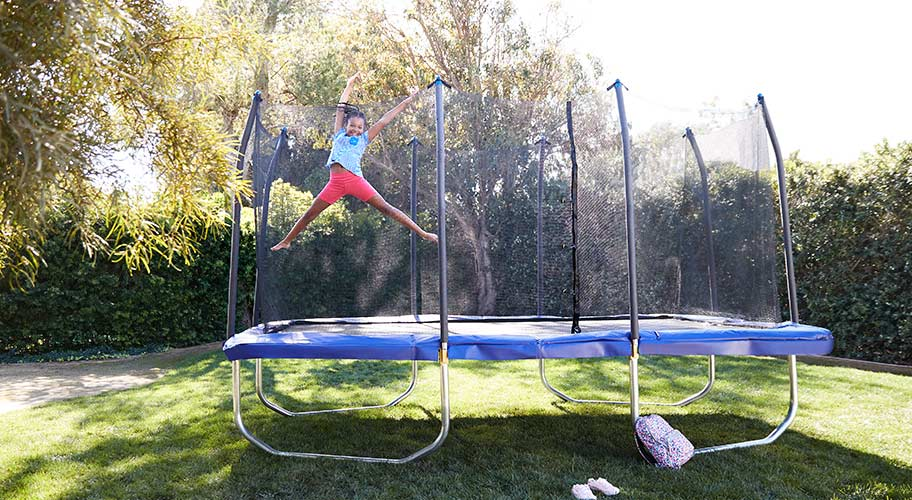 Bounce into spring. The sunshine's here, so head outside & reach for the sky. Boost your backyard fun with a new trampoline that's guaranteed to make you jump for joy.