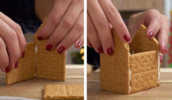 Putting together the graham cracker houses