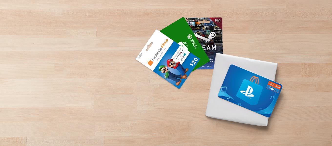 Video game gift cards. Gift it right with a gift card.