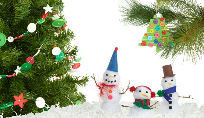 Composite of three kid friendly holiday crafts, pom pom snowman, Popsicle stick ornaments and button garland