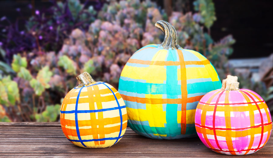 3 colorful plaid pumpkins for Halloween