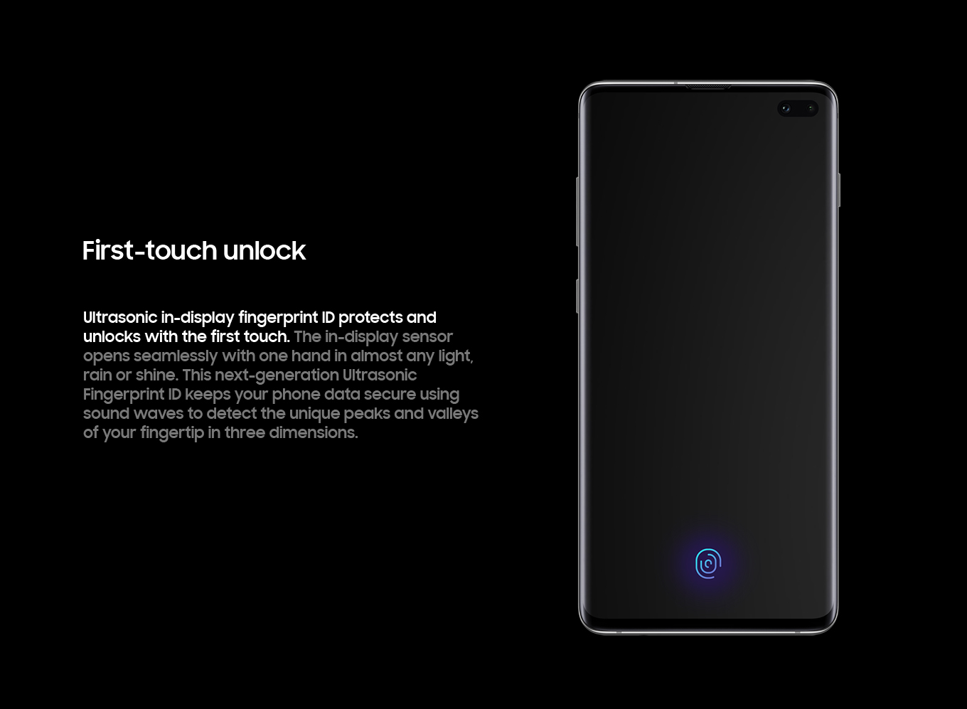 First-touch unlock. Ultrasonic in-display fingerprint ID protects and unlocks with the first touch.