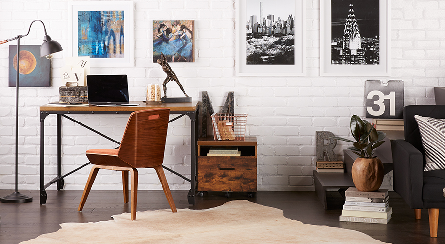 desks for office. The Loft Look. With Wood And Metal Furniture, A Soft Rug \u0026and Colorful Artwork Desks For Office