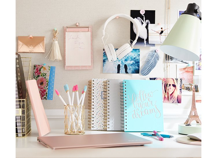 A planner on a desk.