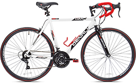 White Mens' GMC Denali road bike with red handle bars and water bottle holder