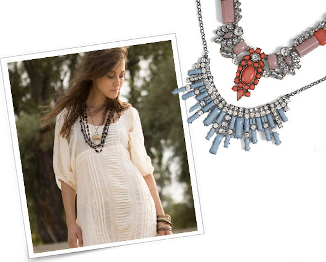 woman wearing long statement necklaces over boho dress