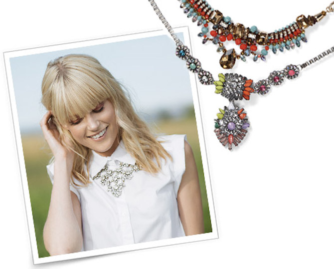 woman wearing rhinestone statement necklace over collared blouse