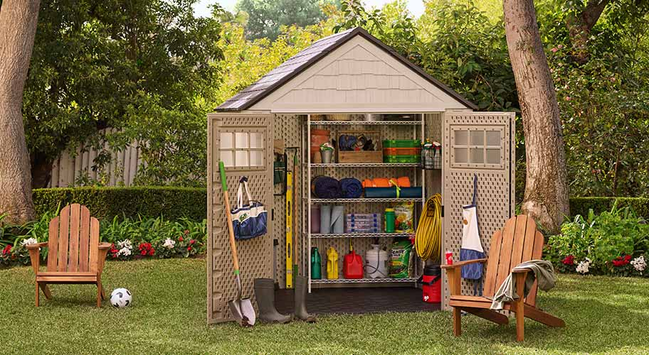 outdoor storage. Spring cleaning is here and your shed deserves some attention. Organize tools with new shelving and bins, or go for the upgrade with a whole new structure. We have the right size shed and material options for every yard.