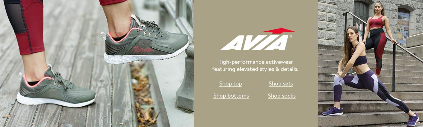Avia. High-performance activewear featuring elevated styles and details.