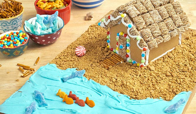 completed beachy-themed gingerbread house