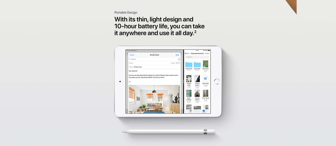 Portable Design with its thin, light design and 10- hour battery life.