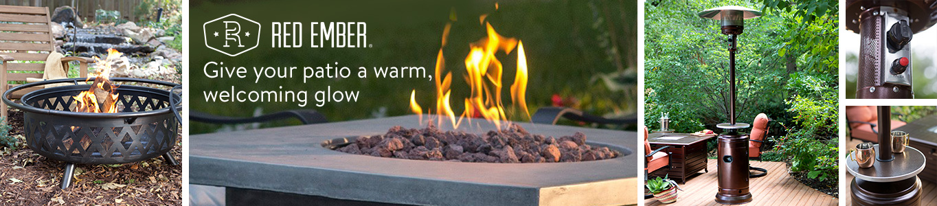 give patios a warm welcoming glow with red ember fire pits and patio heaters - Outdoor Decor