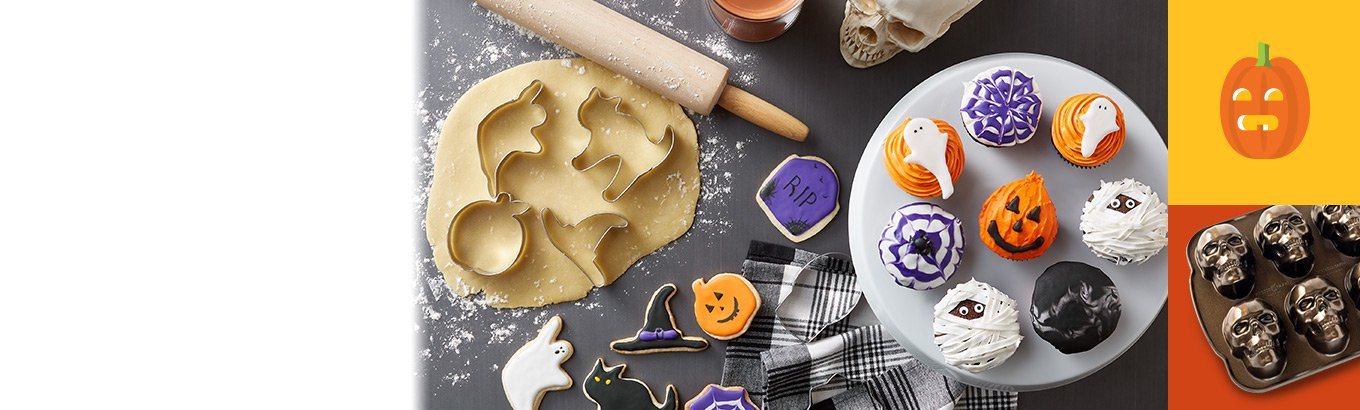 Bone appetite. Halloween bakeware, serveware, and more for spooky treats.
