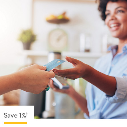 Save 1% anywhere on your Walmart Credit Card is accepted.