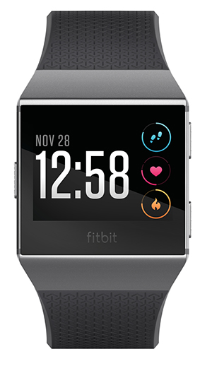 Fitbit Ionic smartwatch - showing front of watch face with time 12:58 and activity monitor icons