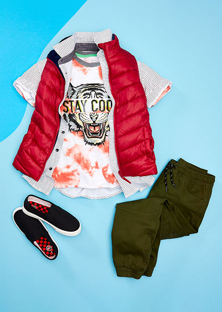 2d7d2ce515a4 Boys' checklist. Send him back in style with sneakers, graphic tees, &
