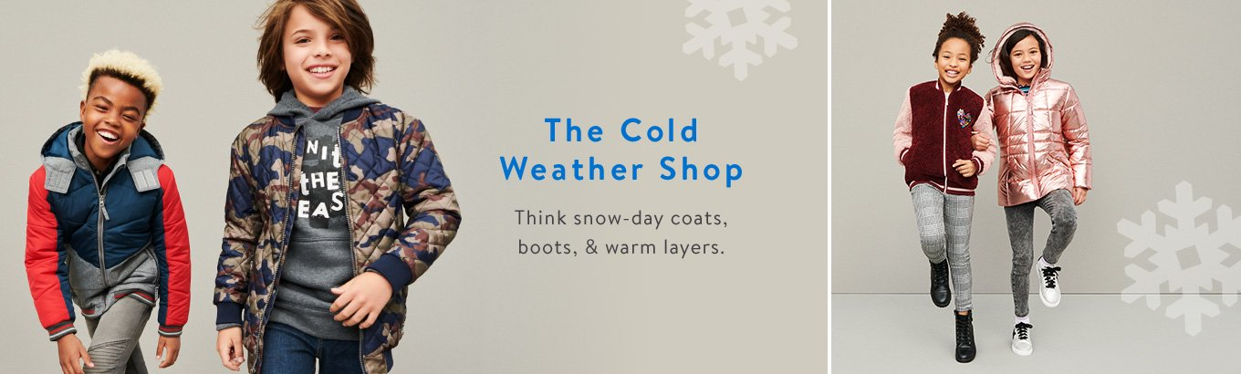 The Cold Weather Shop. Think snow-day coats, boots, and warm layers.