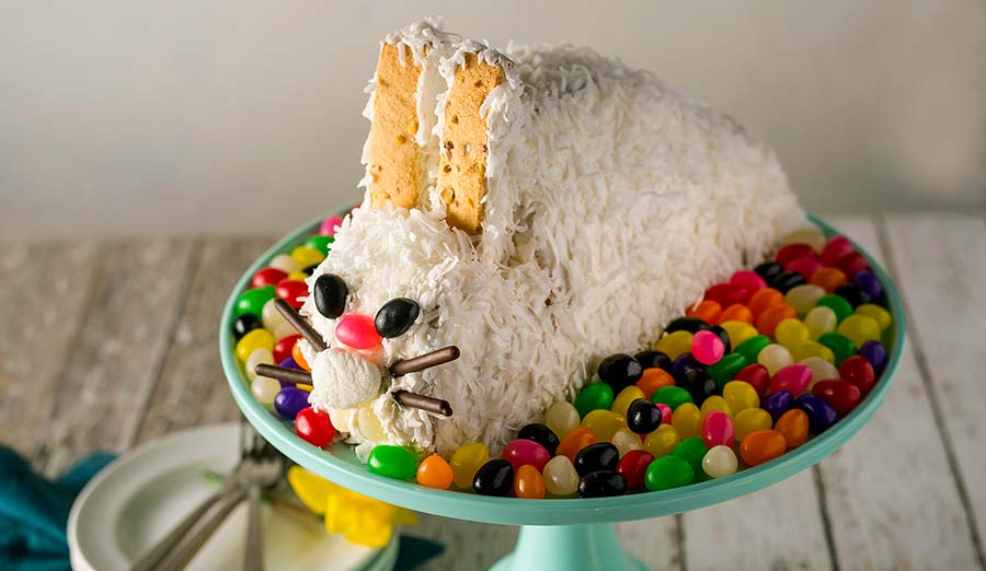 Side view of bunny cake on platter