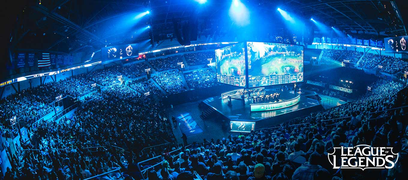 A crowded arena watches League of Legends