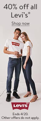 40 percent off all Levi's registered trademark. Ends April twentieth. Other offers do not apply. Shop now.