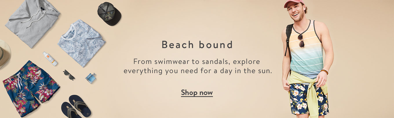 Beach bound: From swimwear to sandals, explore everything you need for a day in the sun. Shop now.