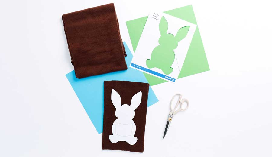 step 1 printed and cut bunny template