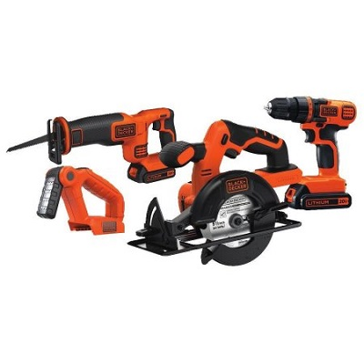BLACK+DECKER BD4KITCDCRL 20V MAX 1.5 Ah Cordless Lithium-Ion 4-Tool Combo Kit