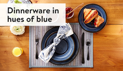 Dinnerware in the hues of blue