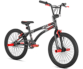 Image of black and red kids BMX bike with red pegs in front and back