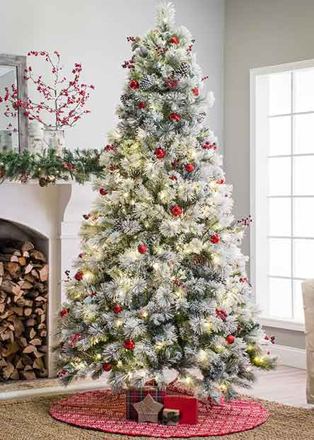 flocked christmas trees - Natural Outdoor Christmas Decorations