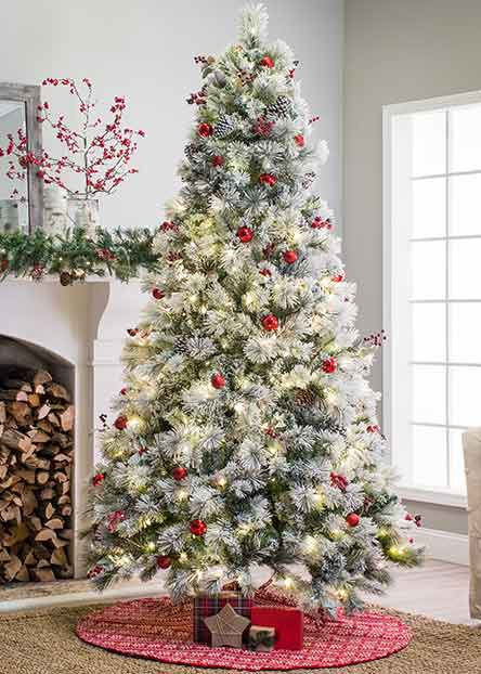 flocked christmas trees - Christmas Decor Without A Tree