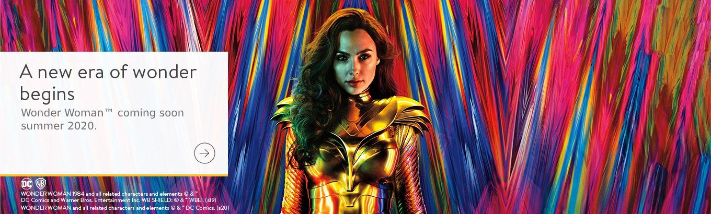 DC Wonder Woman Logo Blue Gold Glitter /& White Stars Ladies Briefs Size 14