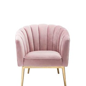 73c4c3df855 A pink velvet shell accent chair. Links to where to shop glam living room  furniture