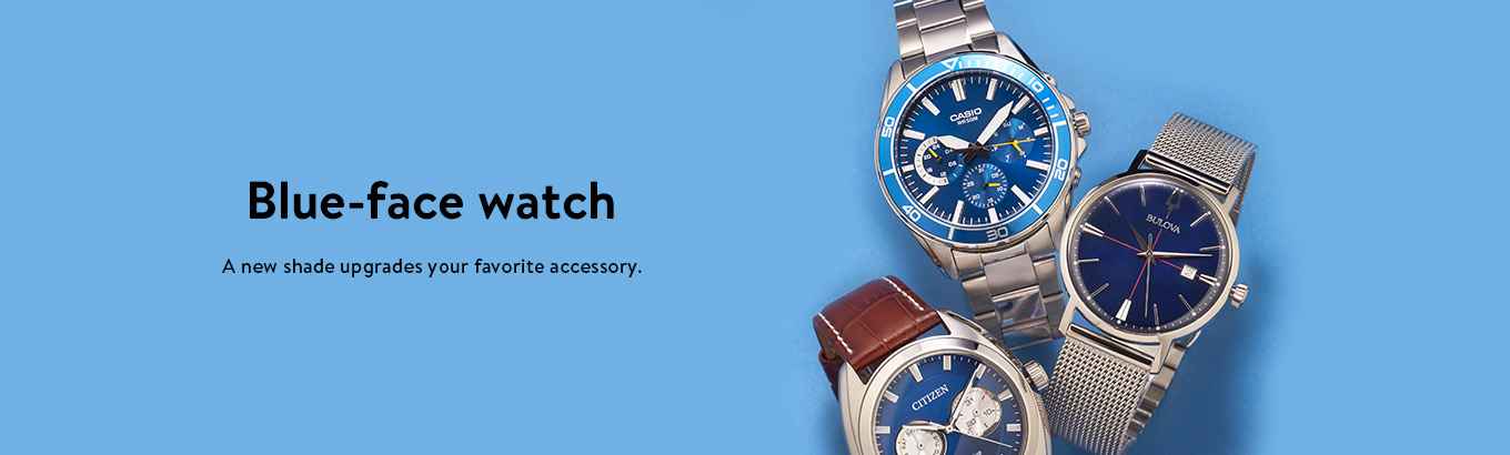 Blue-face watch. A new shade upgrades your favorite accessory.