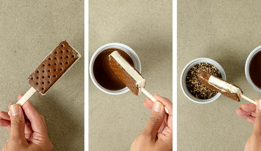 Making the ice cream sandwich pops: adding popsicle stick, dipping and coating