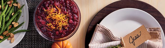 Cranberry sauce with orange zest on a Thanksgiving table