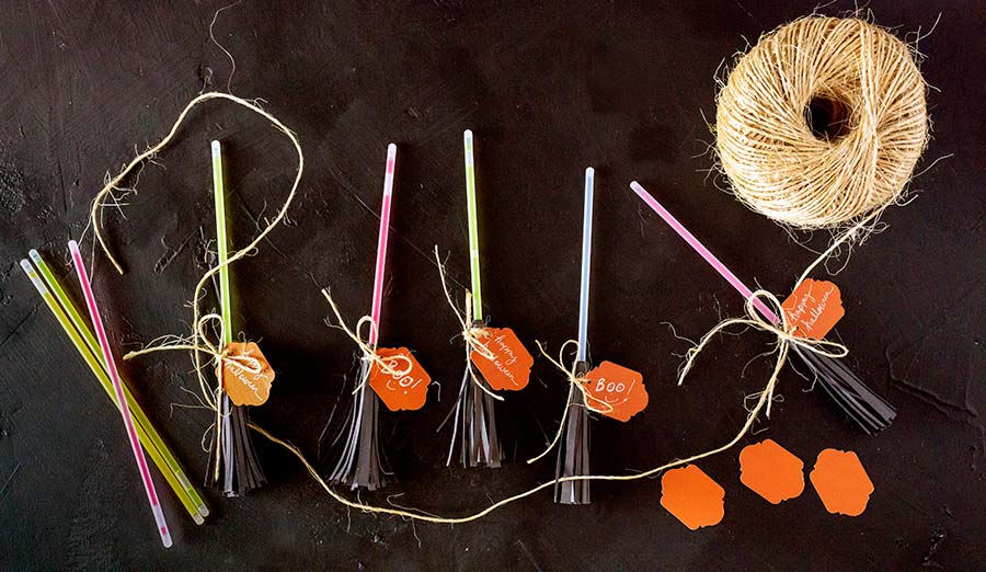 Glow Stick Witches Broom supplies