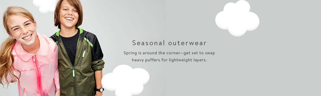 Seasonal outerwear. Spring is around the corner—get set to swap heavy puffers for lightweight layers.