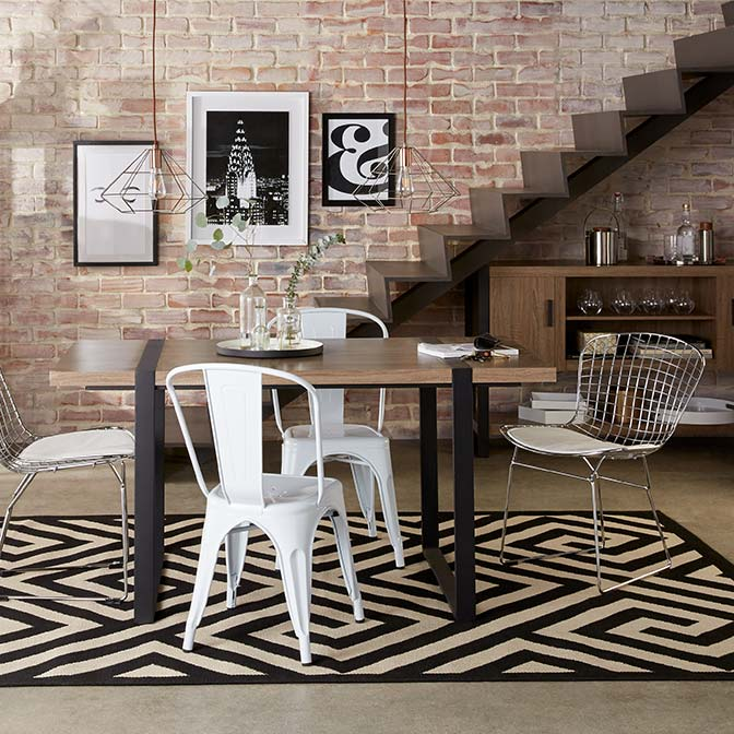 An Urban Dining Room With Brick Walls U0026 Industrial Furniture. Links To A  Collection Of