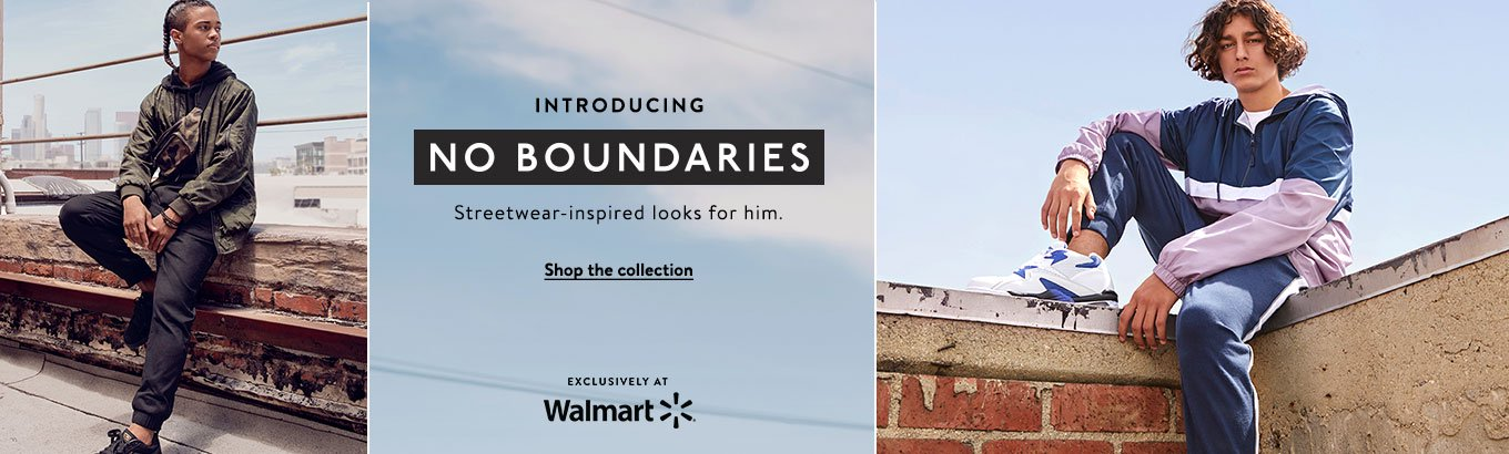 Introducing No Boundaries. Streetwear-inspired looks for him. Shop the collection. Exclusively at Walmart.