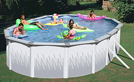 Family playing together in a large metal walled above ground swimming pool